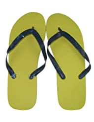 Marc Gold Mens Solid Yellow Fashion Flip Flop