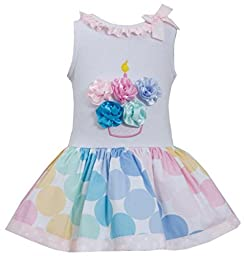 Little Girls 2T-6X Pink Multicolor Bias Dot Print Birthday Cupcake Dress, Pink, 2T, TDLG