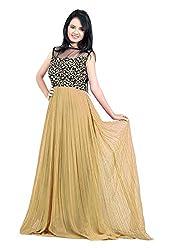 Femeie Apparel Women's A-Line Unstitched Dress (Beige)