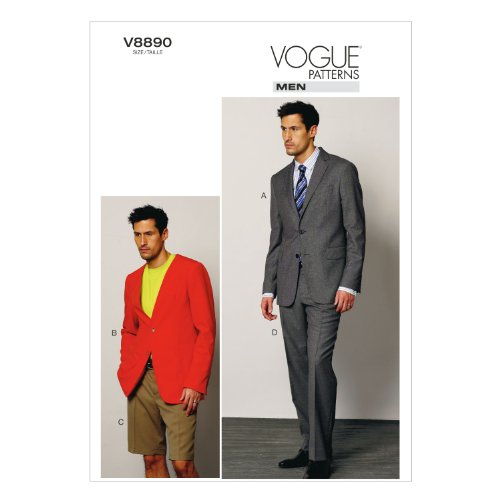 VOGUE PATTERNS V8890 Men's Jacket/Shorts and Pants Sewing Template, Size MUU (34-36-38-40) (Mens Sewing compare prices)