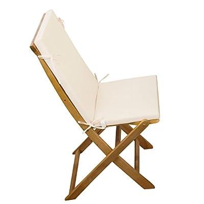 2-tlg Auflagen Set # creme-weiss # für Holzmöbel Gartenmöbel Sets Gartenstuhl Klappstuhl # 2x Sitz Auflagen mit Rückenteil von XINRO auf Gartenmöbel von Du und Dein Garten