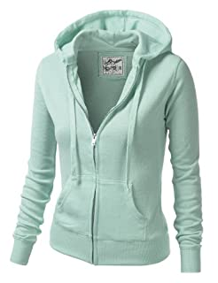 9XIS Womens Athletic Basic Long Sleeve Zip-Up Hoodie,Sage,Small