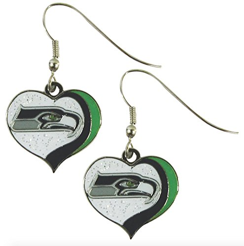 NFL-Seattle-Seahawks-Womens-Sports-Team-Logo-Swirl-Heart-Glitter-Earring-Set-One-Size-Multicolor