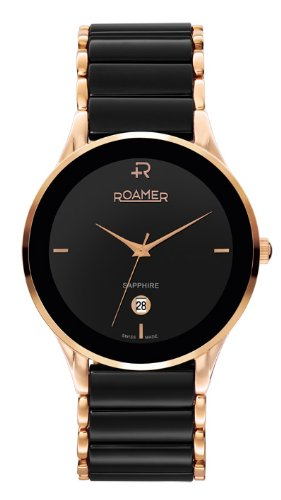 Roamer Ceraline Saphira Men's Quartz Watch with Black Dial Analogue Display and Black Stainless Steel Bracelet