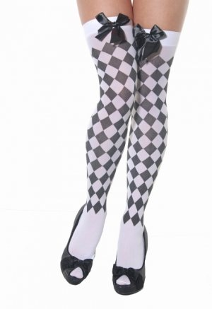 Ladies Black and white harlequin pattern hold up stockings with black bow