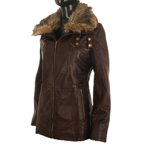Ladies Soft Brown Leather Fur Collar Jacket B2T Size Ladies Size 10 (m)