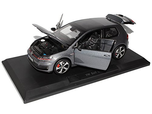 VW-Volkswagen-Golf-VII-7-GTI-Karbon-Stahl-Grau-Schwarz-3-Trer-Ab-2012-118-Norev-Modell-Auto-mit-individiuellem-Wunschkennzeichen