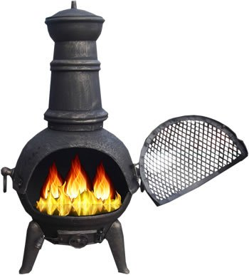 Black 85cm Cast Iron/Steel Chimnea Patio Heater/Cooking BBQ Grill Fire Chiminea