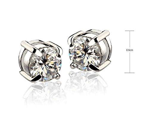 Earrings magnetic earrings zirconia cannot open a hole set 2 pieces white 6 mm