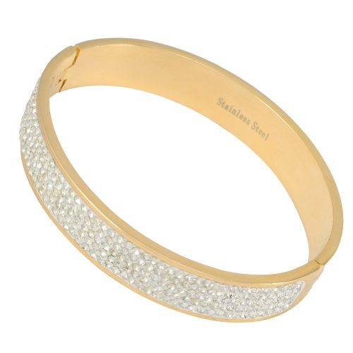 Kadima Stainless Steel Bangle Gold IP Plated With 5-Line Clear Gemstone