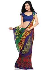 Utsav Fashion Women's Red, Green and Purple Faux Georgette Saree with Blouse