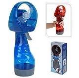 Spray Portable Hand Held Battery Power Fan Air Water Mist Bottle Cooling (Blue)