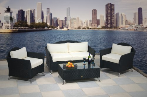 essella Polyrattan Garnitur Chicago in Schwarz mit extra starkem 1,4mm Geflecht