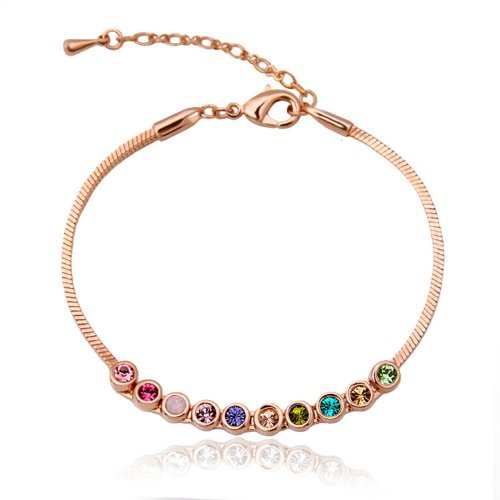 Celebrity Jewellery Austria Crystal 18k Gold Plated Multicolor Blingbling Snakechain Bracelet/Anklets