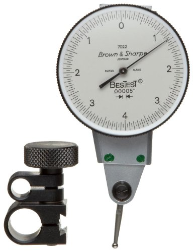 "Brown & Sharpe 599-7022-3 Dial Test Indicator Set, Side Mounted, M1.4X0.3 Thread, White Dial, 0-4-0 Reading, 1.5"" Dial Dia., 0-0.008"" Range, 0.00005"" Graduation, +/-0.0001"" Accuracy back-176585"