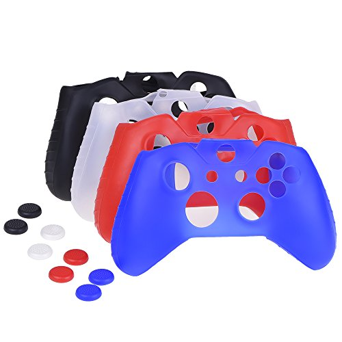 Mudder-4-Colors-Silicone-Skin-Protector-Cover-Case-for-Xbox-One-Controller-with-4-Pairs-of-Matching-Thumb-Grips