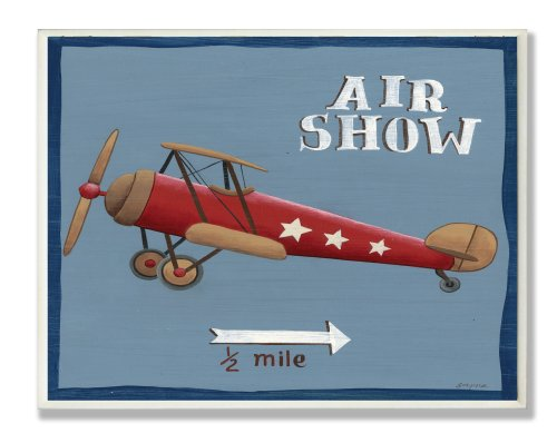 The Kids Room by Stupell Air Show Red Airplane Rectanle Wall Plaque