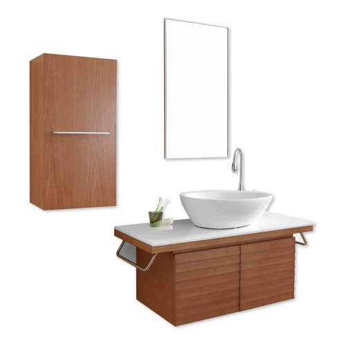 Virtu USA ES-2248-CH Porter 48-Inch Wall-Mounted Single Sink Bathroom Vanity  Mirror, Ceramic Basin, and White Stone Countertop, Chestnut Finish