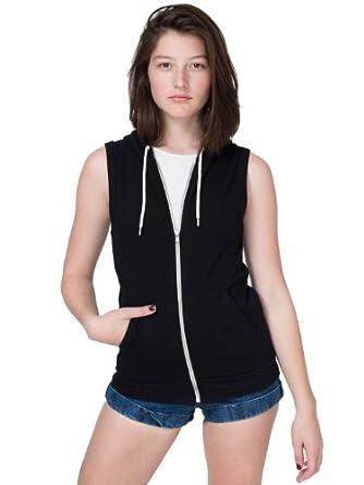 American Apparel Women's California Fleece Sleeveless Zip Hoodie - Black / XS