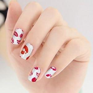 aolevia lot de 64 feuilles stickers ongles faux ongles ongles autocollants 4 dessins pour femme. Black Bedroom Furniture Sets. Home Design Ideas