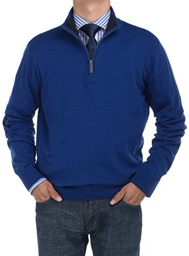 Bianco B Men'S Mock Neck 1/4 Zip Sweater Relaxed Fit (X-Large, Royal Blue) front-552660