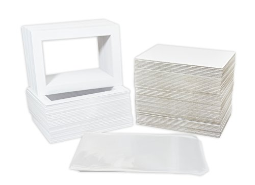 Pack of 100 5x7 WHITE Picture Mats Mattes with White Core Bevel Cut for 4x6 Photo + Back + Bags (Photo Frame Craft compare prices)