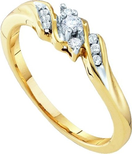 10k Yellow Gold Round Diamond 3 Stone Bridal Engagement Promise Ring YG Womens