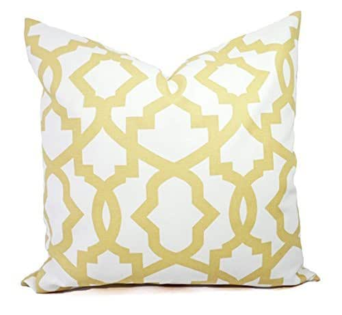Soft Yellow Decorative Pillows : Amazon.com: Soft Saffron Yellow and Soft White Trellis Pillow Cover - Yellow and White Pillow ...