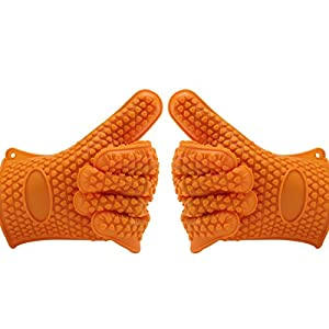 Proteove Silicone Heat Resistant Oven Mitts Gloves for Grilling BBQ, Cooking, Baking, Smoking & Potholder,5-Finger Anti Slip Grip,One Size Fits Most, Pack of 2, Orange