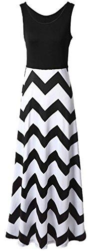 Demetory Women`S Bohemian Sleeveless Wave Striped Maxi Dress (U16-18/Asian XL, Black) (Tank Maxi Dresses For Women compare prices)
