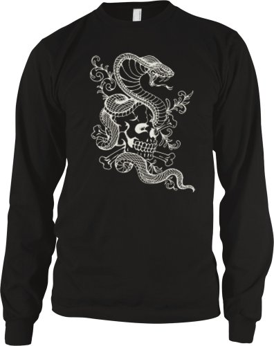 Cobra And Skull Mens Tattoo Thermal Shirt, Skull And Snake Old School Tattoo Mens Long Sleeve Thermal, X-Large, Black