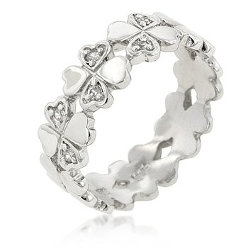 White Gold Rhodium Bonded to .925 Sterling Silver Heart Formed Clover Eternity Ring with Prong Set Small Round Cut Clear CZ in 2 Hearts of 3 Clovers and Set in Silvertone