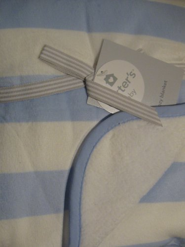 Carter'S Velour Sherpa Blanket, Light Blue Stripe front-1021222