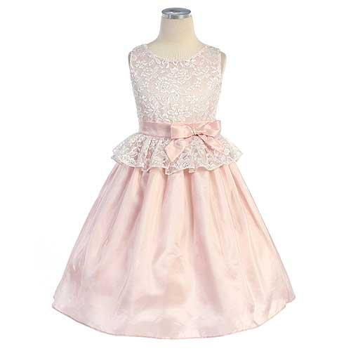 Sweet Kids Girls 10 Pink Lace Peplum Easter Dress