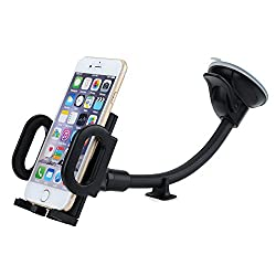 Car Mount, Mpow Grip Flex Universal Windshield 8.66 inches Long Arm Car Holder with Extra Dashboard Base and Double Strong Suction for iPhone 6S Plus/6S/6/5,Galaxy,HTC,GPS Devices and More