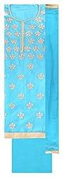Gaurangi Fabrics Women's Cotton Unstitched Dress Material (Blue)