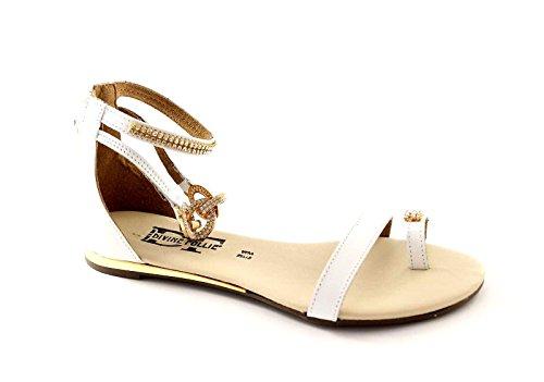 DIVINE FOLLIE 53756 bianco sandali donna zip tallone cavigliera infradito 40