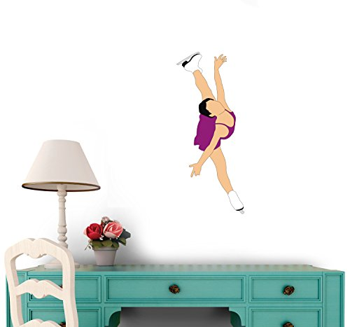 Figure Skating Wall Decal - 18 Inches H x 8 Inches W - Peel and Stick Removable Graphic