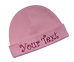 Embroidered Baby Girl Hat With Your Custom Personalization By Funny Girl Designs YOUR CUSTOM TEXT (Light Pink Hat)