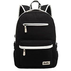 ZeleToile® MB-31 Multi Function Men and Women Unisex Canvas Leather Rucksack Laptop Backpack Teenage Boy Girl Schoolbag School Backpack Shoulder Bag Casual Sports Travel Hiking Bag Computer Bag 13-15 inch (Black)