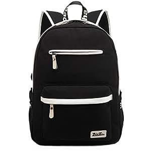 ZeleToile® Unisex Canvas Laptop Backpack Teenage Boy Girl Schoolbag School Backpack Shoulder Bag Travel Hiking Rucksack Bag Black