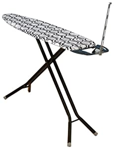 Household Essentials 465400 Deluxe Rectangle 4-Leg Ironing Board, Black