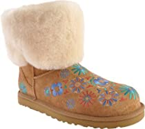 Hot Sale UGG Womens Embroidery Mid Brown Boots 7 B - Medium