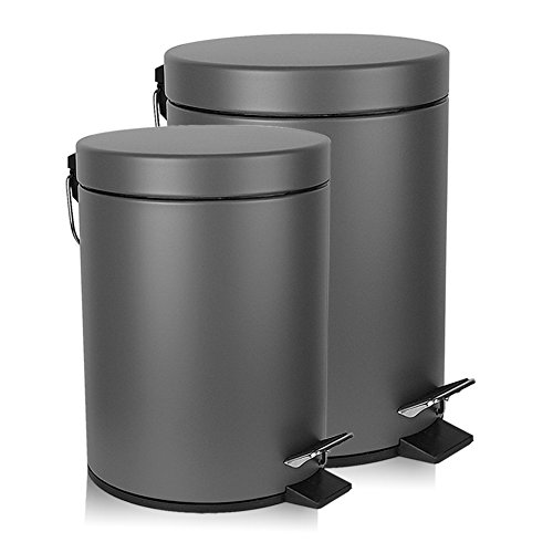 Malmo FE430035LG Set of 2 Foot Step Trash Cans for Home and Office, Gray (10 Gallon Galvanized Trash Can compare prices)