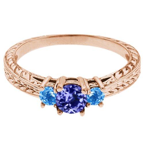0.60 Ct Round Blue Tanzanite Swiss Blue Topaz 14K Rose Gold 3-Stone Ring