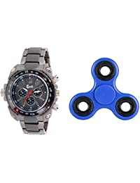 Cavalli CWFS040 Grey/Black Analog Watch For Men With Free Hand Fidget Spinner