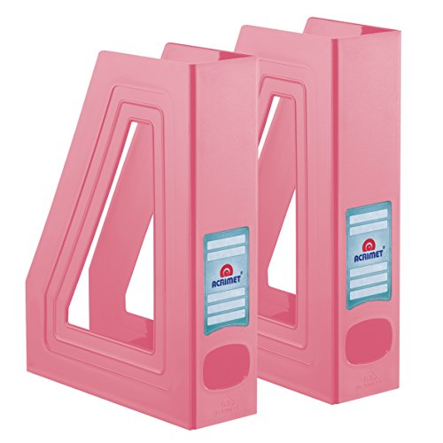 Acrimet Magazine File Holder (Solid Pink Color) (2 - Pack)
