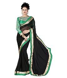 SRP Fashion Selection Women's Chiffon Saree (SRP-OF40, Black)