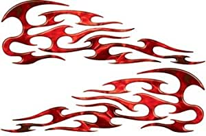 Full Color Reflective Inferno Red Tribal Motorcycle Gas Tank Flame Decals
