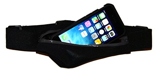 Exercise Running Belt with Expandable Pocket for iPhone 7, 6 / 6S, 5 / 5S, 5C, SE, 4, 4S, Samsung Galaxy S7, S6, S5, Moto X, HTC One & More (Black) (Iphone 4 Belt Holder compare prices)